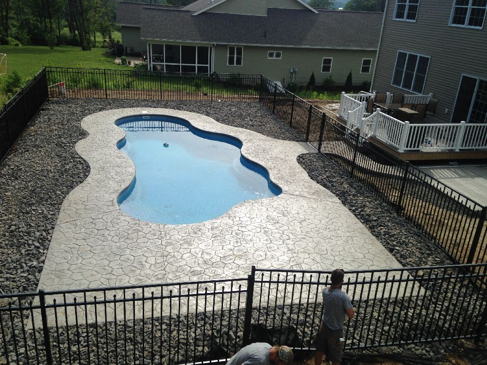 Stamped Concrete Pool Project Fence, Wall, Patio, Hydro Seed, Landscape  Clarks