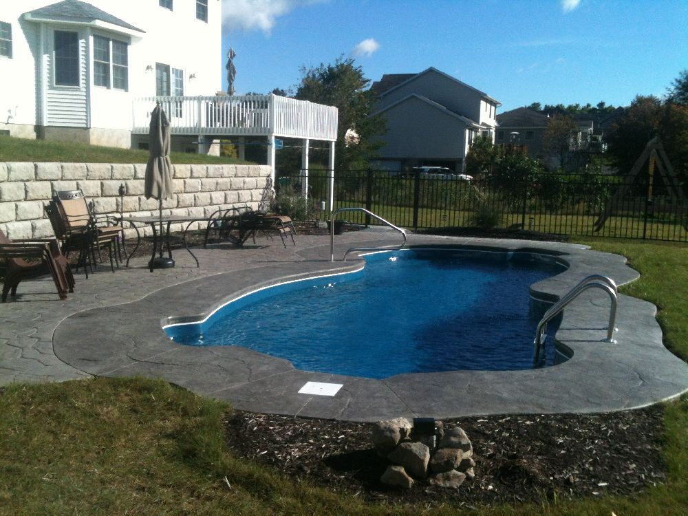 Marvelous Stamped Concrete Pool Project Fence, Wall, Patio, Hydro Seed, Landscape  Archbald