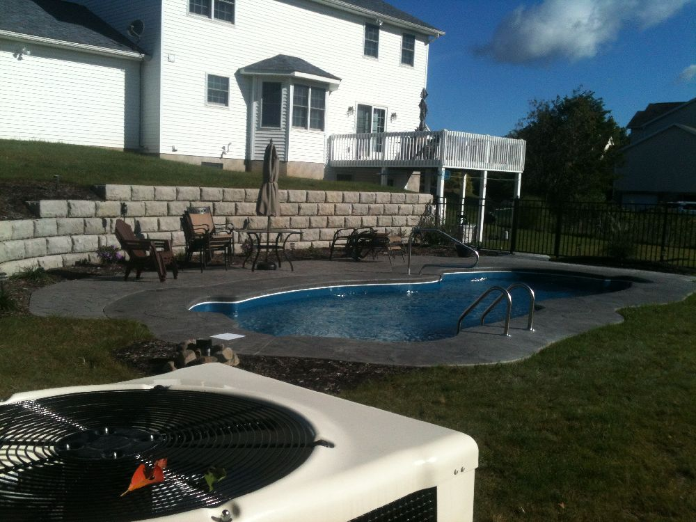 Stamped Concrete Pool Project: Pool Fence, Wall, Patio, Hydro Seed,